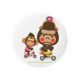 """ぽっこりゴリラ""""Motor cycle -  gorilla & monkey"""" Badges"""