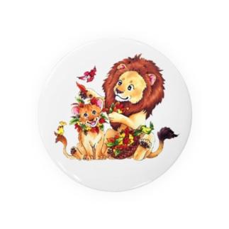 親子ライオン Badges