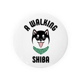 柴犬唐草散歩笑顔(黒) Badges