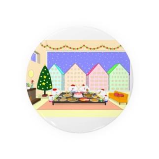 クリスマスパーティーをする猫家族と友達 Badges