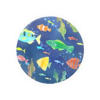 水彩お魚さん(青) Badges