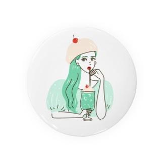 yuki illustrationのCREAM SODA GIRL Badges