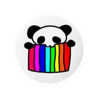 レインボーフラッグをはむはむするパンダ Badges
