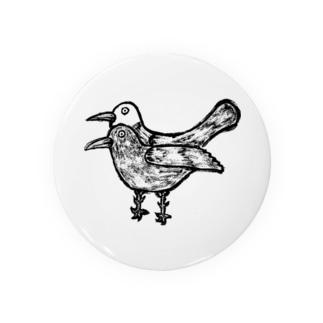 疫病退散!版画風のヨゲンノトリのイラスト Badges