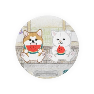 縁側の秋田犬 Tin Badge