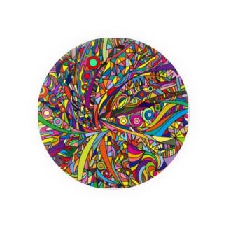 Rainbow explosion_ square Badges