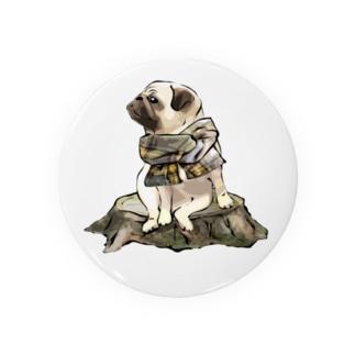 マフラー犬 パグ Badges
