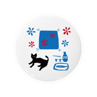 SOKICHISAITOの猫と座布団とお銚子とお猪口 Badges