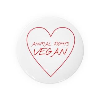 Animal Rights Vegan ハート(赤) Badges