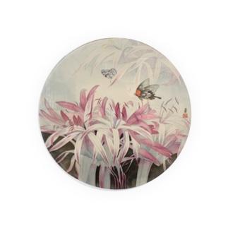 蘭と蝶ステッカー Badges