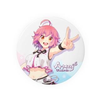 Amajor6 Shop SUZURI支店のあめこ20K缶バッジ(白) Badges