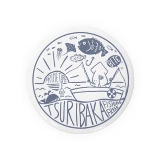 釣りバカ~Tsuribaka~ロゴ風デザイン Badges