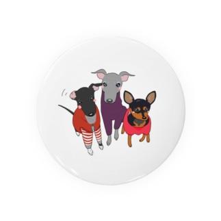 「保護犬カフェ支援」グッズ ねねさん茶々さんももさん 〜イタグレ&ミニピン〜 Badges