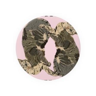 美人なネコ 羽根枠 ピンク Badges