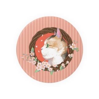 桜と三毛猫  Badges