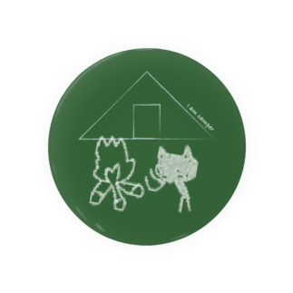 I am camper な ネコちゃん(緑) Badges