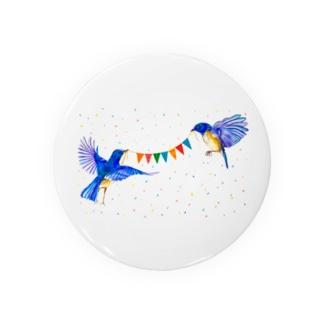 【アクリル画Artist erika】幸せの青い鳥 Badges