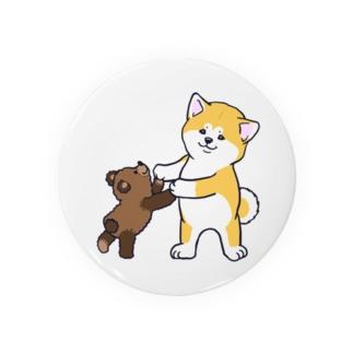 秋田犬とぬいぐるみクマさん Badges