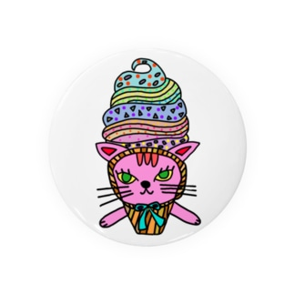 ソフトクリームピンクネコ Badge