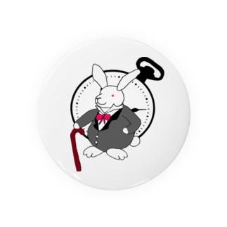 ウサギと時計 缶バッジ