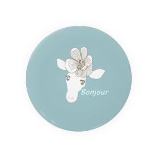 花飾りのキリンBonjour缶バッジ 缶バッジ