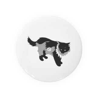 たてがみのある猫の缶バッジ・モノクロ  Badges