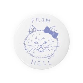 ねこ from hell (purple) 缶バッジ