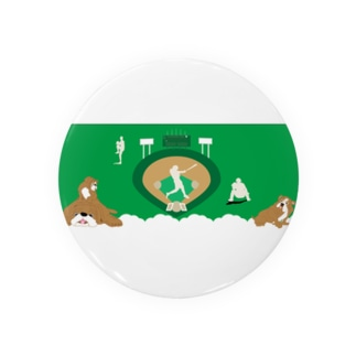野球と犬のわんわんナンバーワン 缶バッジ