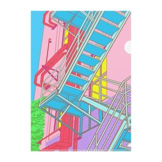 門司港駅の隣の建物の階段 Clear File Folder