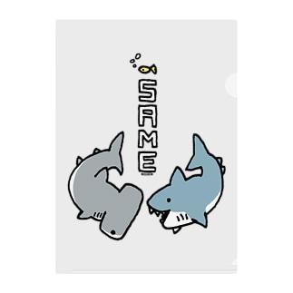 Cɐkeccooのらくがきシリーズ-サメさんとシュモクザメさん Clear File Folder