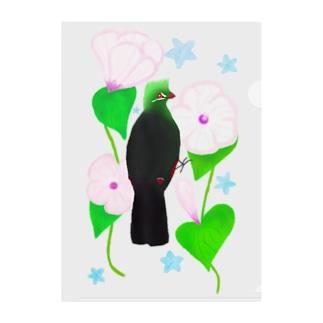 見返り美鳥(ギニアエボシドリ)と花① Clear File Folder