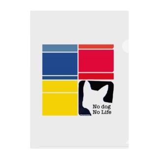 No dog, No Life. ボストンテリア Clear File Folder