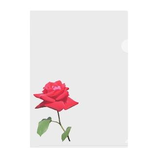 一輪の赤い薔薇 Clear File Folder