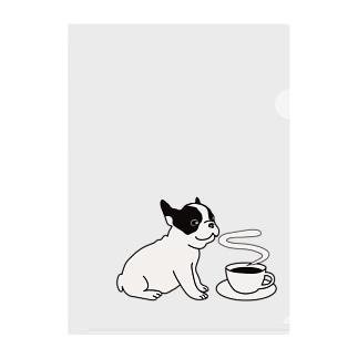 フレンチブルドッグとコーヒー Clear File Folder