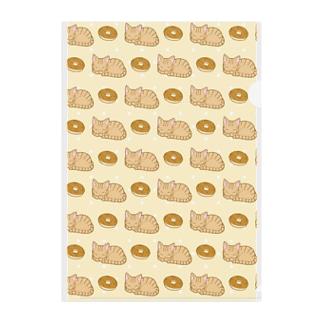 猫とドーナツ Clear File Folder