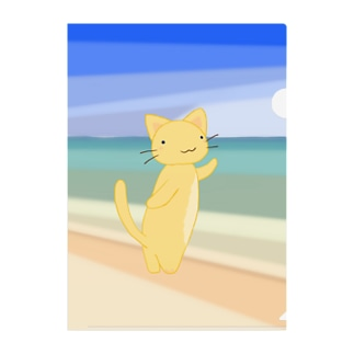 きねことビーチ Clear File Folder