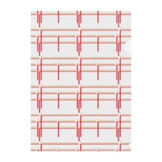 赤鉛筆ボーダー Clear File Folder