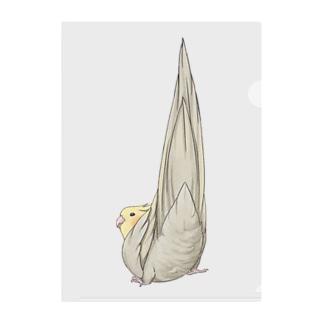 まめるりはことりの尾羽がピン 可愛いオカメインコちゃん【まめるりはことり】 Clear File Folder