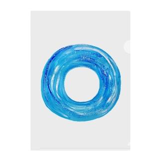 青い浮き輪 Clear File Folder