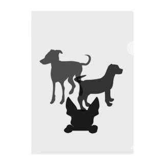 犬のシルエット Clear File Folder