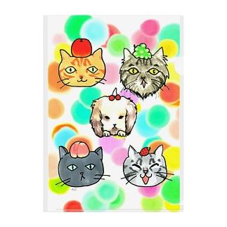 猫ちゃん😺兎ちゃん🐰のフルーツ狩り Clear File Folder