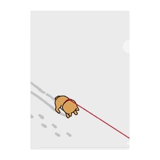 雪のイヤイヤ柴犬 Clear File Folder