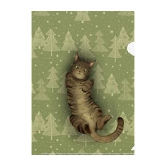 いつでも「猫と」一緒/グリーン Clear File Folder