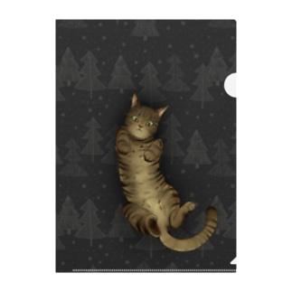 いつでも「猫と」一緒/グレー Clear File Folder