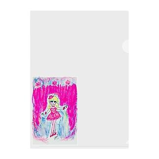 kozbeのピンクMerry-go-round Clear File Folder