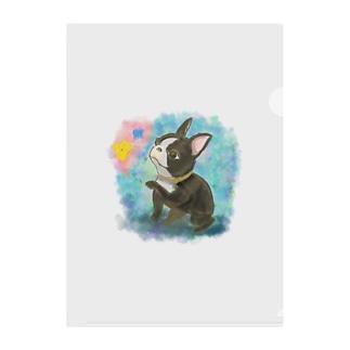 水彩イラストの昭和レトロ風フレンチブルドッグ Clear File Folder
