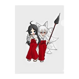 まっつん工房の狐&巫女 Clear File Folder