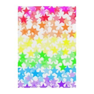 星たくさんカラフル Clear File Folder