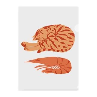 猫とエビ Clear File Folder