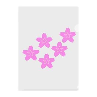 星桜紋(流れ星ピンク) Star cherry blossom Crest (Shooting star pink)) Clear File Folder